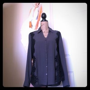 Grey and black blouse